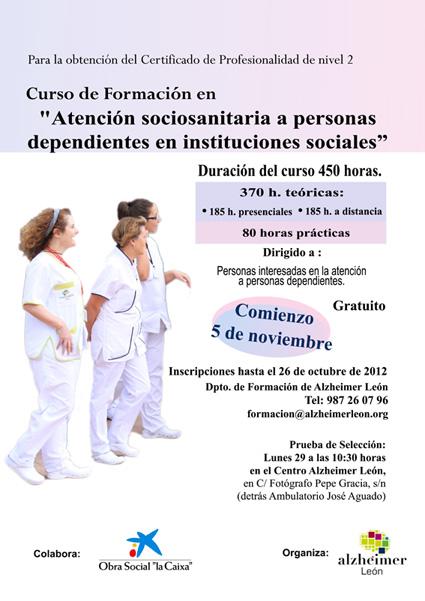 Curso en Atención sociosanitaria a personas dependientes en instituciones sociales