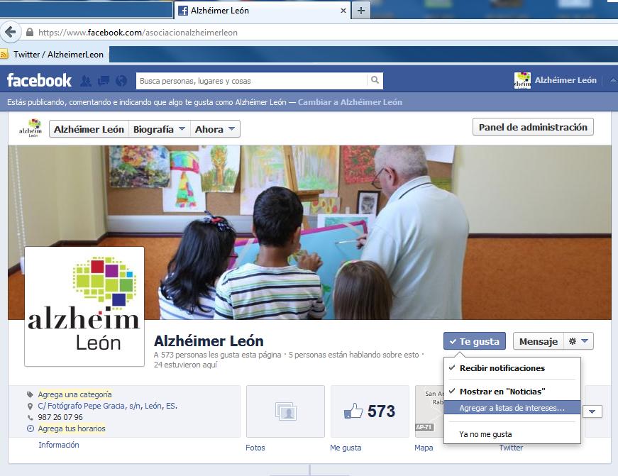 Alzheimer León en facebook