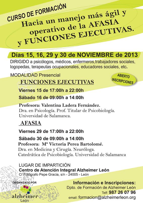 Próximo Curso de Formación en Afasia y Funciones ejecutivas.