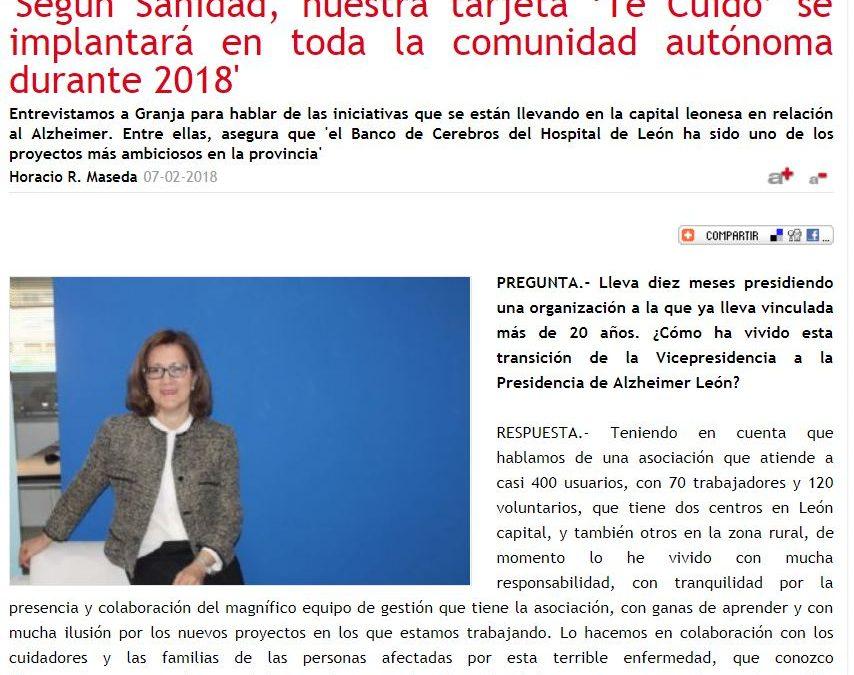 Entrevista a la presidenta de Alzheimer León, Regina Granja, en la Revista 'Entre Mayores'